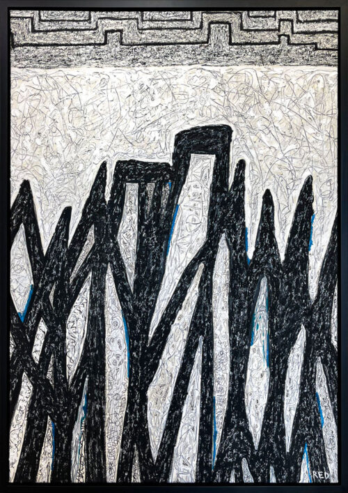 "Summit by Rodney Denne (RED) from the ""Dialogue"" series. Black and white abstract landscape oil painting on canvas."