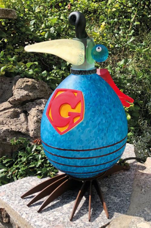 Glass Bird Lamp as Superman