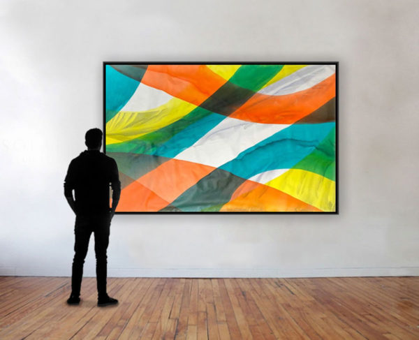 Synergy by Antonio Molinari; poured paint art with yellow, orange, and blue colors