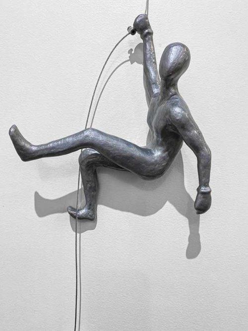 Silver Wall Climber Sculpture