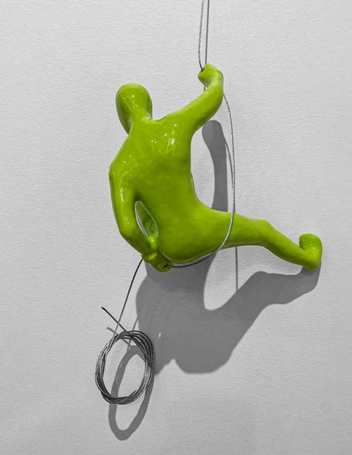 Lime Green Wall Climber Sculpture
