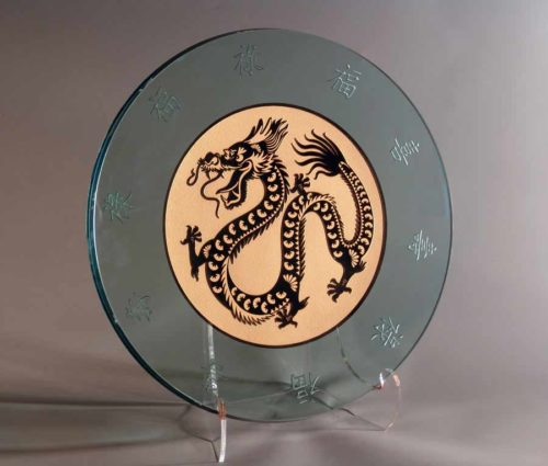 Round Glass Platter with Asian Dragon in Gold