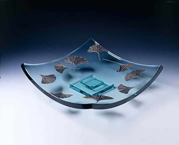Clear Platter with Etched Ginkgo Leaves