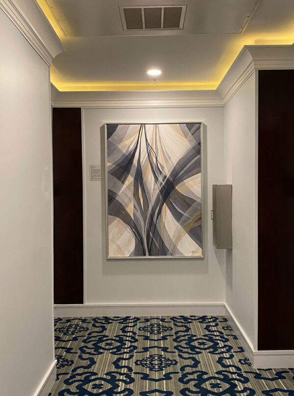 Indigold III by Antonio Molinari at Art Leaders Gallery. Blue, gold, and white poured paint abstract.