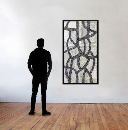 """Miscellany by Rodney Denne (RED) from the """"Contrast & Dialogue"""" series. Black and white abstract oil painting on canvas."""