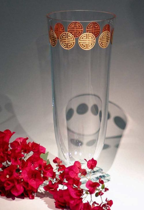 Clear Vase with Gold Banner