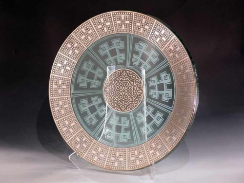 Round Glass Platter with Gold Etching