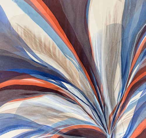 Sedona Sky by Antonio Molinari at Art Leaders Gallery. Blue, copper, and orange poured paint abstract.