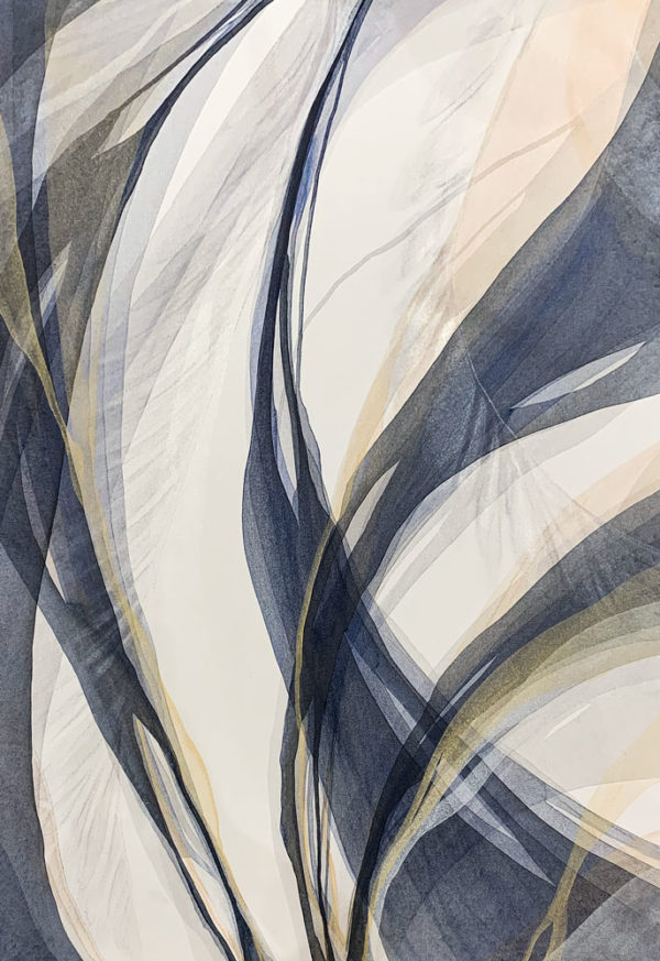 Smoky Veil by Antonio Molinari at Art Leaders Gallery. Blue, gold, and white poured paint abstract.