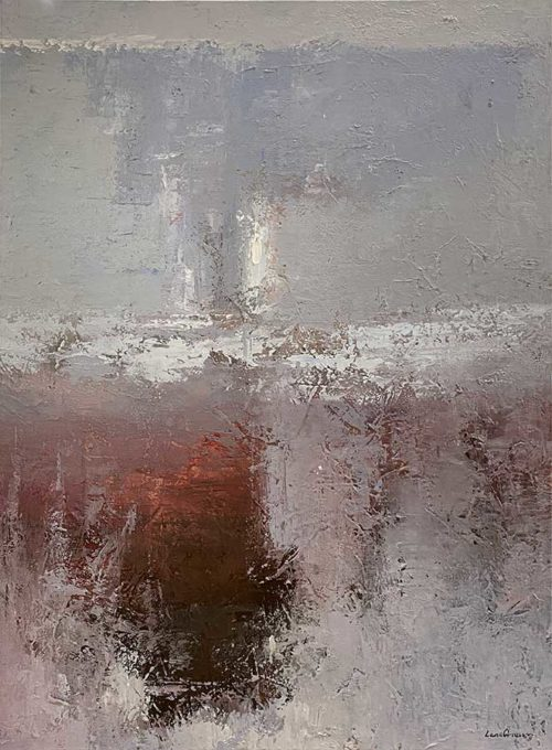 Abstract Grey, Red, and White Oil Painting