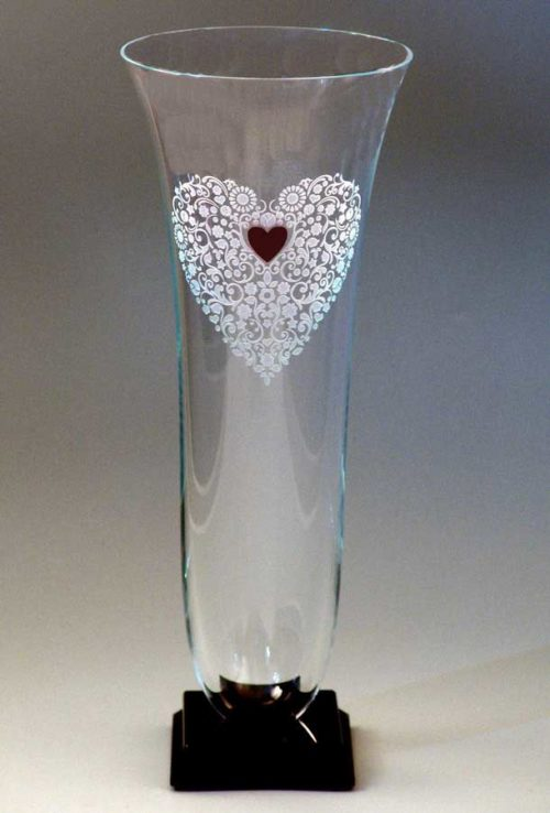 Clear Vase with Heart Etching