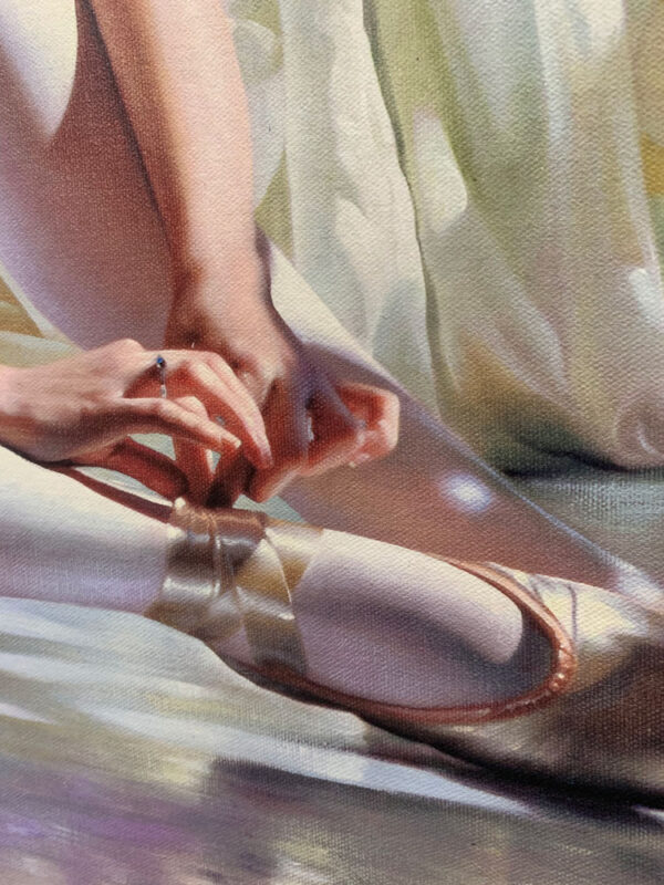 """""""Sunny Morning"""" by Alexander Sheversky at Art Leaders Gallery. Ballet dancer putting on pointe shoes, sitting in front of white curtains. Photo-realistic painting."""