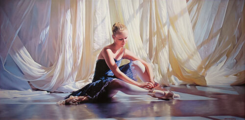 """Sunny Morning"" by Alexander Sheversky at Art Leaders Gallery. Ballet dancer putting on pointe shoes, sitting in front of white curtains. Photo-realistic painting."