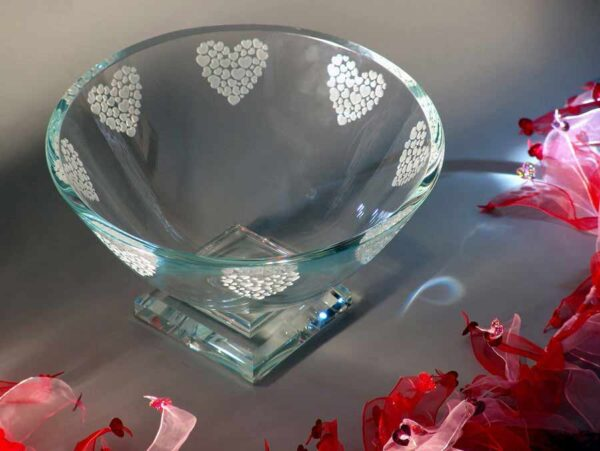 Clear Heart Etched Glass Bowl