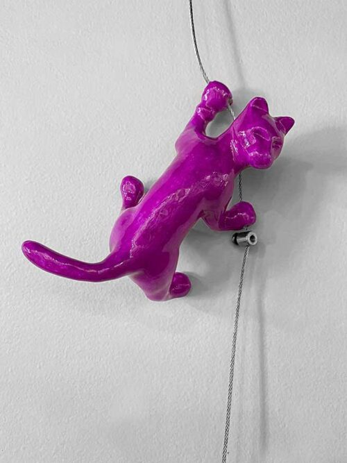 Pink Cat Wall Climber Sculpture