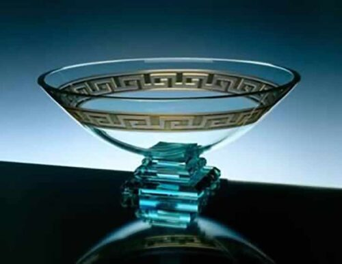Glass Bowl with Greek Key