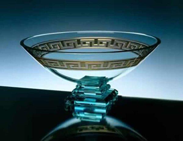 Glass Bowl with Greek Key