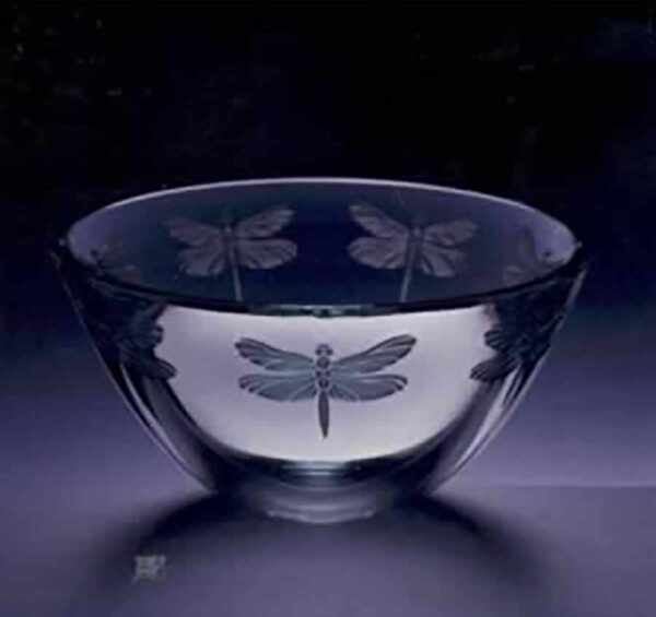 Dragonfly etched Clear Accent Bowl