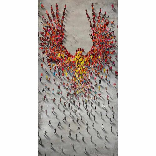 From the Ground Up is part of the Populus Series by Craig Alan. This limited edition piece is derived from the larger than life mural located in Atlanta, GA. The populus crowds form into a shape of a phoenix rising up from the ashes.