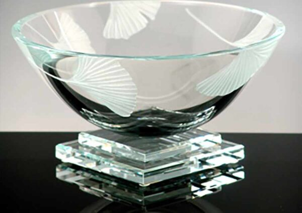 Clear Bowl with Ginkgo Etching