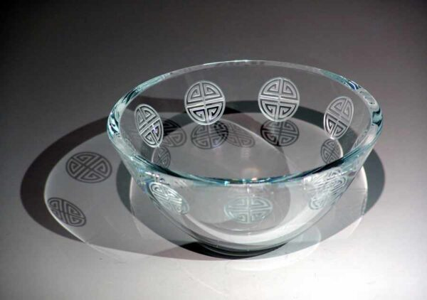 Clear Bowl with Greek Etchings