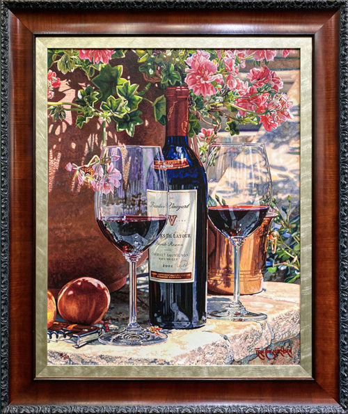 Realistic Still Life Painting of Wine, Wine glasses, Wine Bottle, and flowers