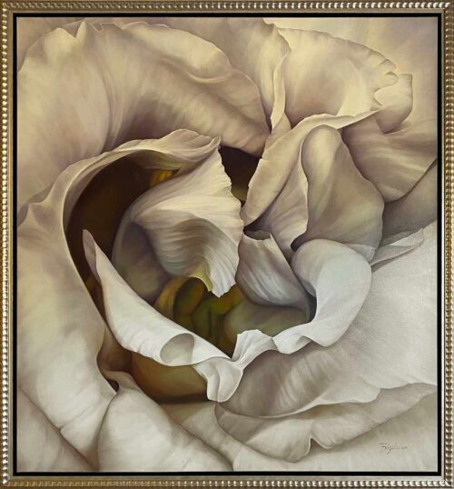 Snow Goddess by Deborah Bigeleisen at Art Leaders Gallery. Large, white floral oil painting on canvas.