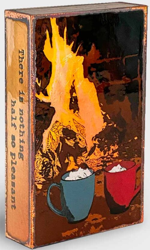 Tile with Coffee Cups next to fire