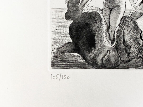 Argus in Black #106/150 by Salvador Dali - Argillet Collection. Original Peacock etching of the greek myth Argus and Hera. Etching on Arches.