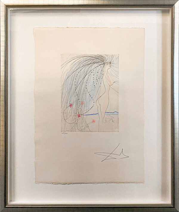 Diane de Poiters by Salvador Dali - Argillet Collection. Original etching of nude woman with wild hair and blue veil. French noble woman of the early 16th century.