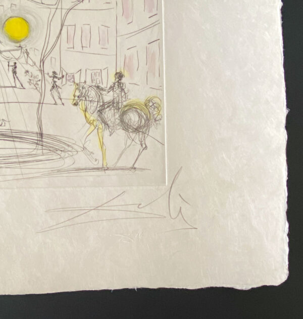 Place Furstenberg by Salvador Dali - Argillet Collection. Original etching of a town square. Fountain with light, people on horses.