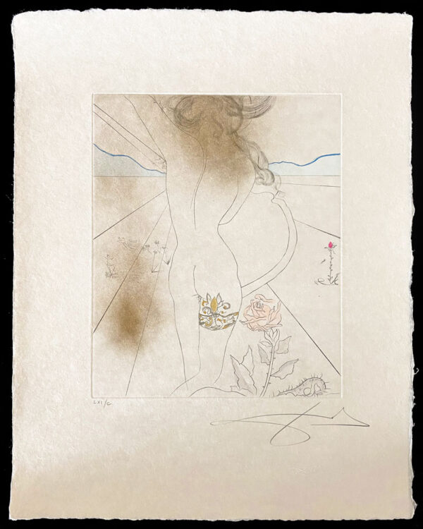 """The Hippies: Nude with Garter (Les Hippies: Nu a la Jarretiere) by Salvador Dali - Argillet Collection. Original nude with intricate garter etching with gold accents. Dali's interpretation of the """"Love and Peace"""" years."""