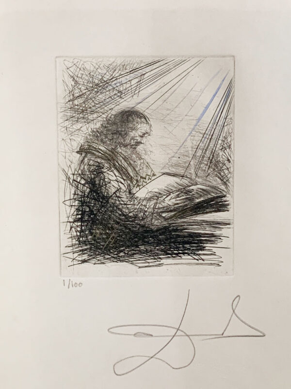 Magiciens: Faust Reading by Salvador Dali - Argillet Collection. Original etching of German 15th century astrologer and alchemist Faust reading with a beam of light, man reading, old man reading