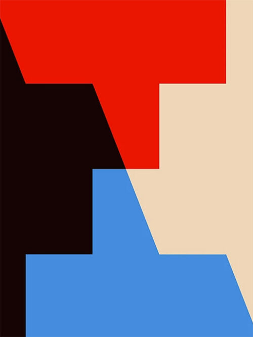 Black, Blue, Red, Tan Geometric Print