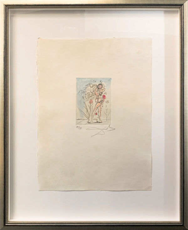 "Secret Poems of Apollinaire: Petits Nus Apollinaire III by Salvador Dali - Argillet Collection. Original etching on japon. Surreal illustration of the ""Secret Poems"" written by Guillaume Apollinaire. Nude woman reading with flowers."