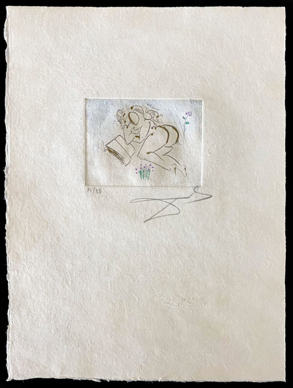 """Secret Poems of Apollinaire: Petits Nus Apollinaire IV by Salvador Dali - Argillet Collection. Original etching on japon. Surreal illustration of the """"Secret Poems"""" written by Guillaume Apollinaire. Nude woman reading with flowers."""