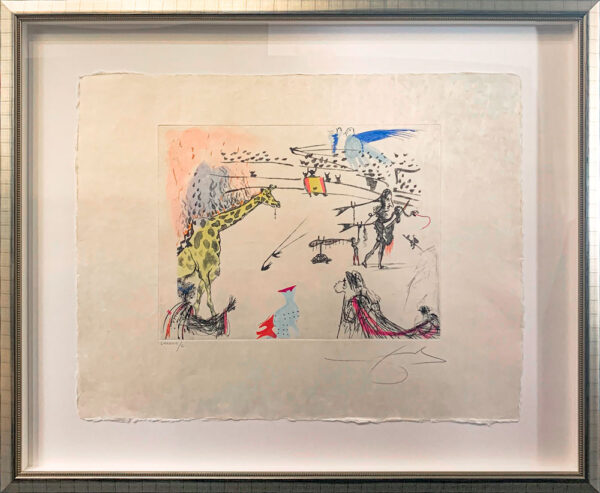 Surrealistic Bullfight: Burning Giraffe by Salvador Dali - Argillet Collection. Original surrealistic bullfight etching on Japon. Inspired by Picasso's Tauromachie. Bullfight with a giraffe in flames.