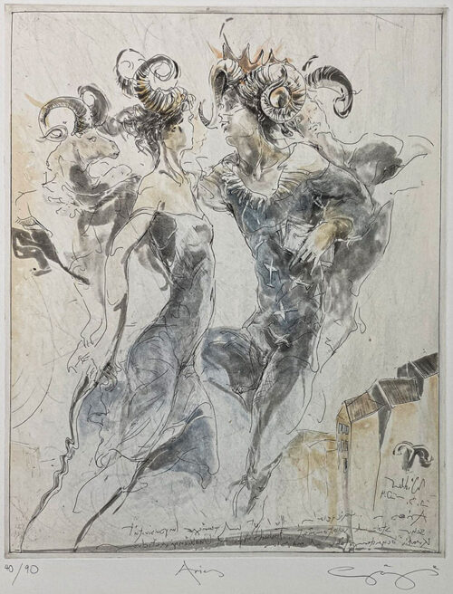 Figurative Etching of Aries Astrology