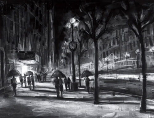 Black and White Cityscape Painting