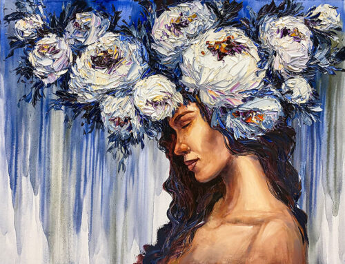 Female with blue abstract background and flowers