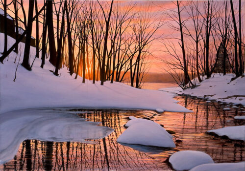 Winter Scene with Sunset