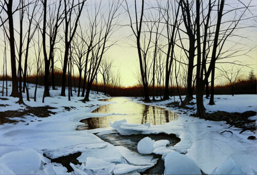 Winter River with ice landscape painting