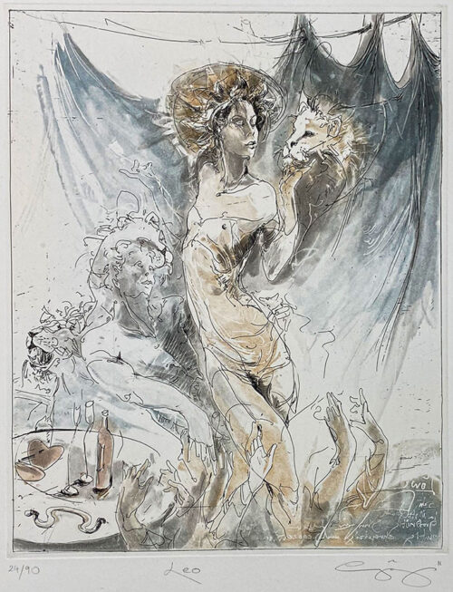 Figurative Etching of Leo Astrology