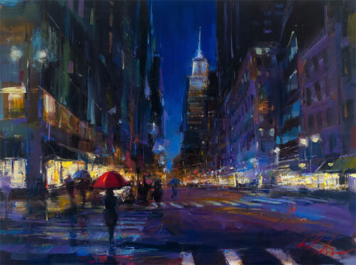 New York City at Night during the Rain Painting