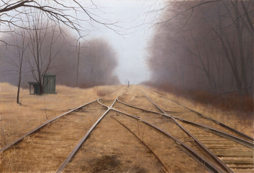 Misty, Fall Morning, with wheat and train tracks