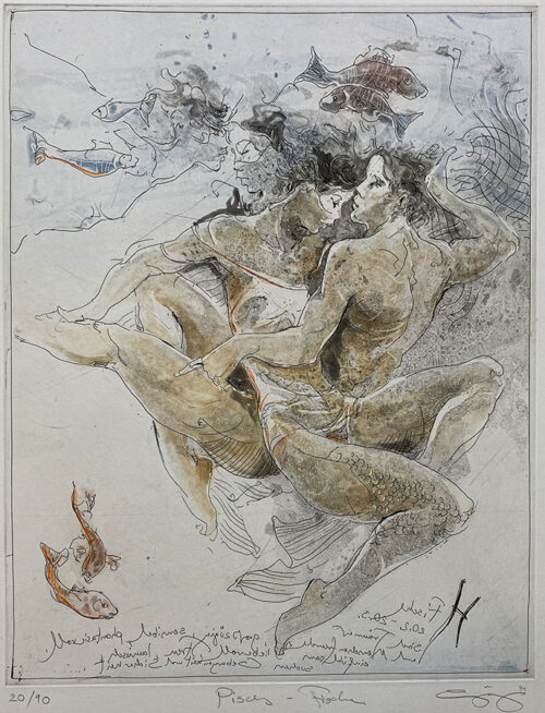 Figurative Etching of Pisces Astrology