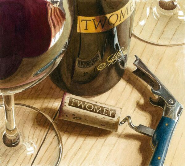 Wine, glass, and cork