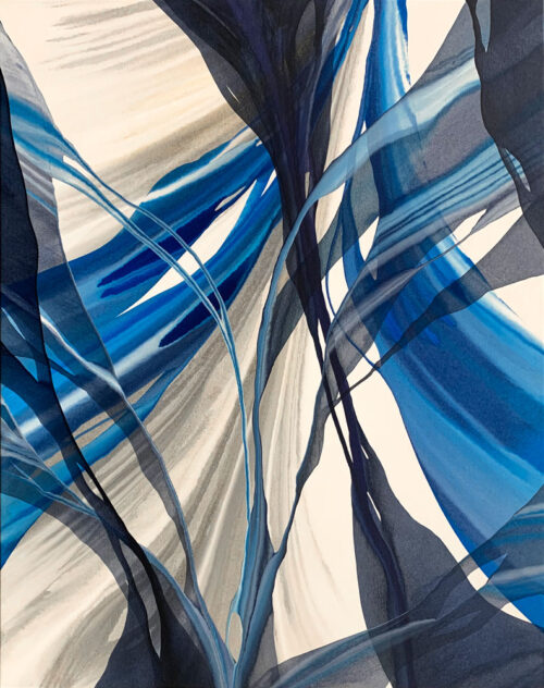 String Theory by Antonio Molinari at Art Leaders Gallery. Blue, gold, and white poured paint abstract.
