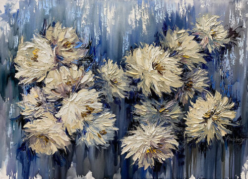 Tan Flowers with Blue Background Oil Painting