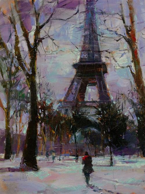 Winter Paris Scene Painting